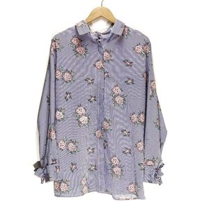 Umgee | Striped Button-Up Floral Blouse